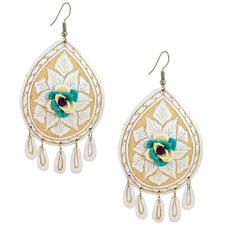 Embroidered Heart Fan Earrings
