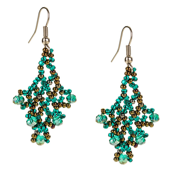 Hand Beaded Earrings - Shimmering Green and Brown