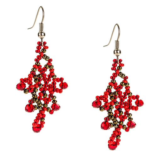 Hand Beaded Earrings - Shimmering Red