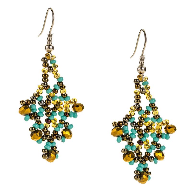 Hand Beaded Earrings - Shimmering Turquoise and Gold