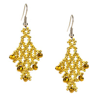 Hand Beaded Earrings - Shimmering Gold