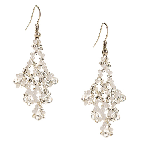Hand Beaded Earrings - Shimmering White