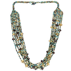 Hand Beaded Necklace - Shimmering Turquoise and Gold