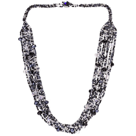 Hand Beaded Necklace - Shimmering Gray