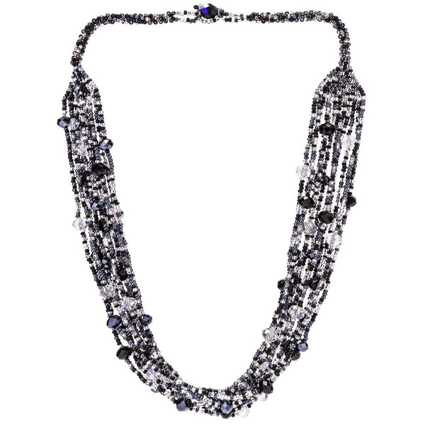 Hand Beaded Necklace - Shimmering Black and Crystal