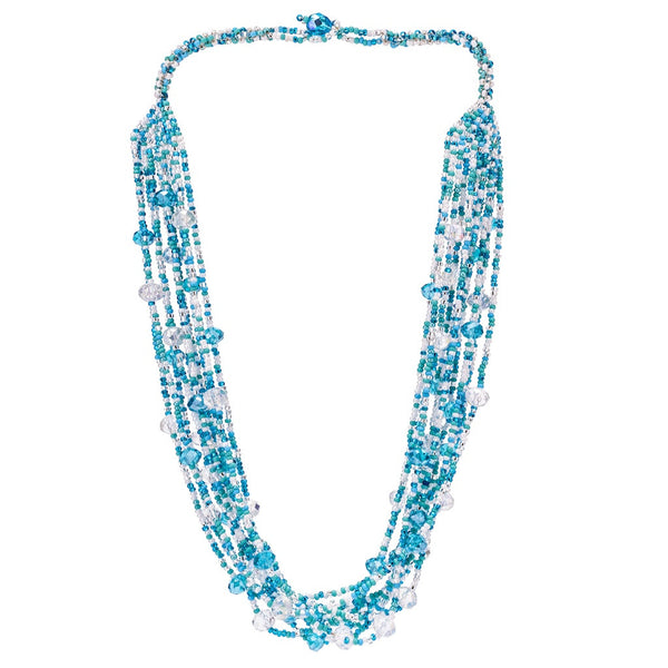 Hand Beaded Necklace - Shimmering Baby Blue and Crystal
