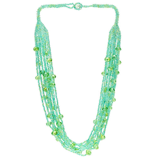 Hand Beaded Necklace - Shimmering Sea Foam Green