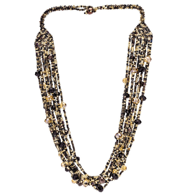Hand Beaded Necklace - Shimmering Black and Gold