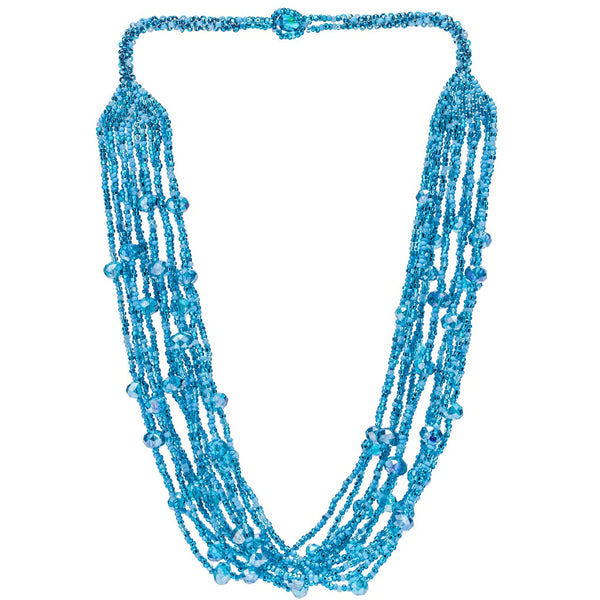 Hand Beaded Necklace - Shimmering Aqua Blue