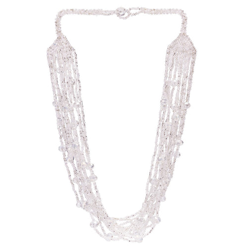 Hand Beaded Necklace - Shimmering Crystal