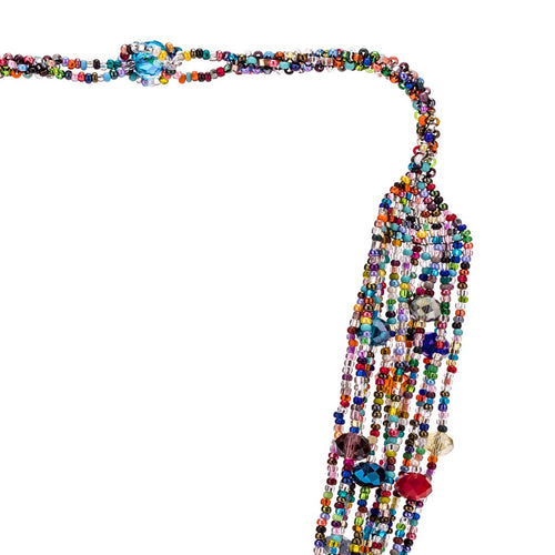 Hand Beaded Necklace - Shimmering Multi-Color