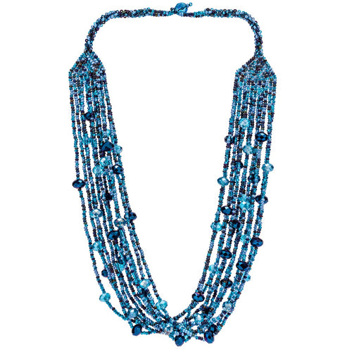 Hand Beaded Necklace - Shimmering Blue