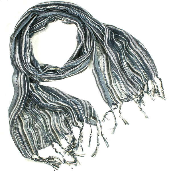 Guatemalan Handwoven Scarf - Black and Grey