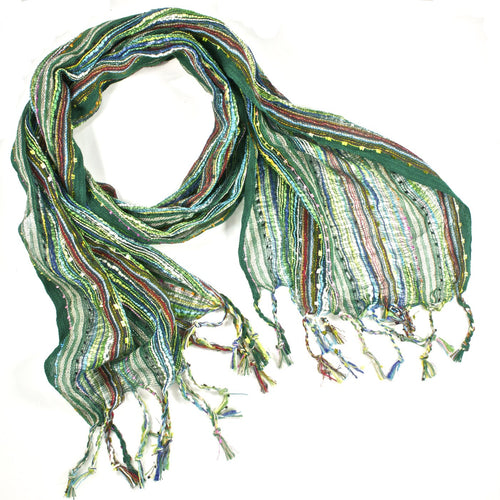 Guatemalan Handwoven Scarf - Forest Green