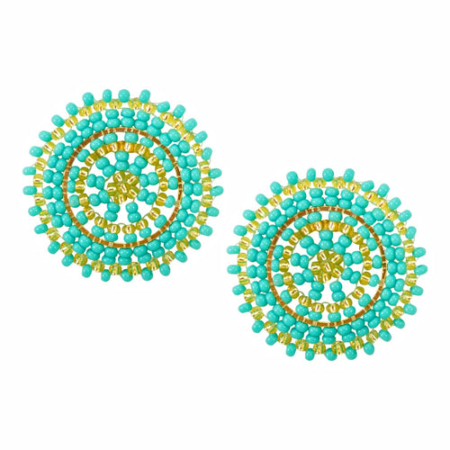 Turquoise and Gold Hand Beaded Disc Earrings
