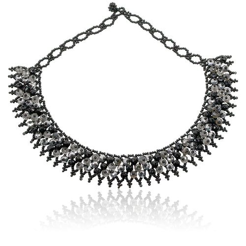 Hand Beaded Lace Bib Necklace - Black
