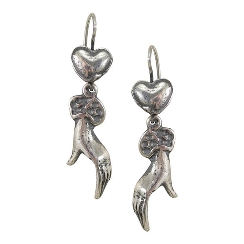 Sterling Silver Hand and Heart Molded Drop Earrings