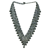 Hand Beaded Necklace - Shimmering Black and Grey