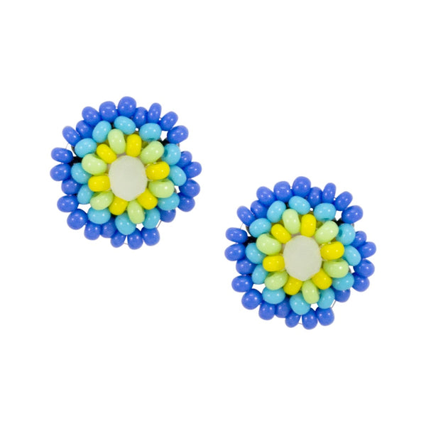 Hand Beaded Post Earrings - Blue and Yellow