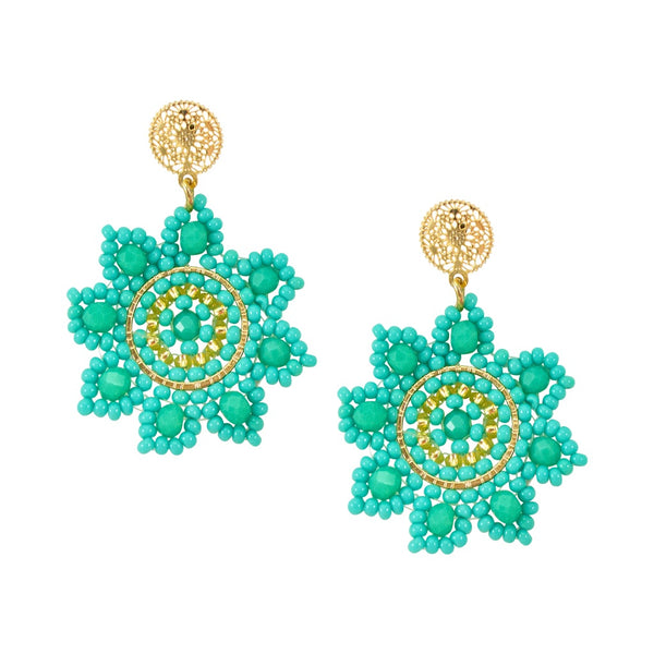 Turquoise and Gold Hand Beaded Drop Earrings