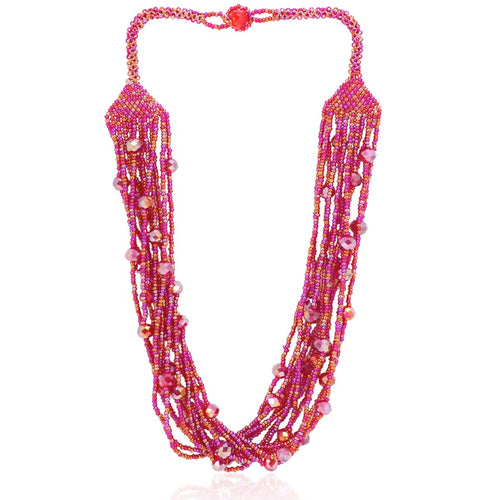 Hand Beaded Necklace - Shimmering Magenta Pink