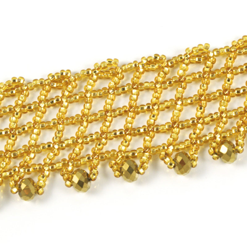 Hand Beaded Necklace - Shimmering Gold