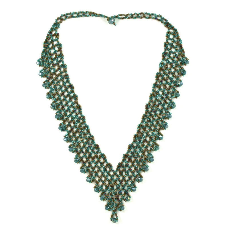 Hand Beaded Necklace - Shimmering Green and Brown