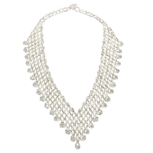 Hand Beaded Necklace - Shimmering White