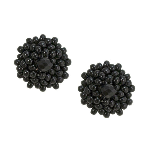 Hand Beaded Post Earrings - Black