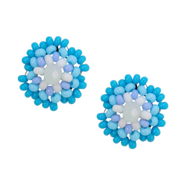 Hand Beaded Post Earrings - Light Blue