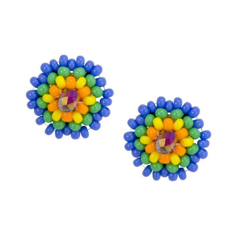 Hand Beaded Post Earrings - Multicolor