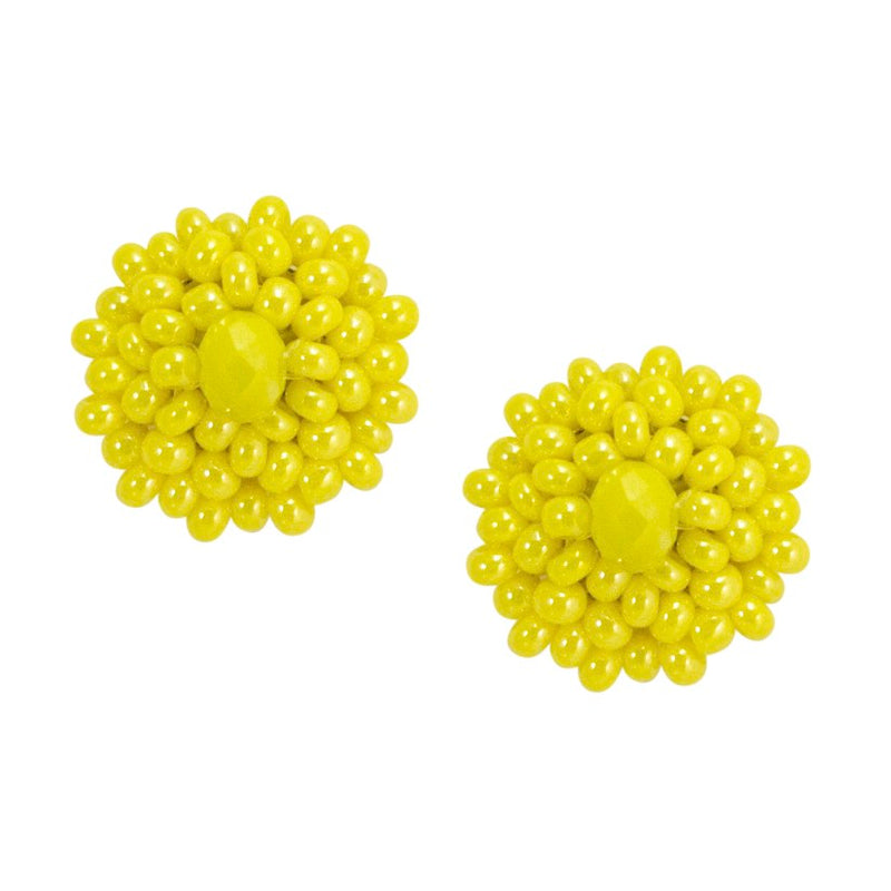 Hand Beaded Post Earrings - Yellow