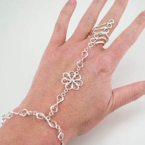 Henna Filigree Silver Chain Bracelet - Ring Size 8
