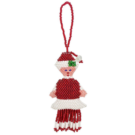 Hand Beaded Angel Ornament - White and Silver