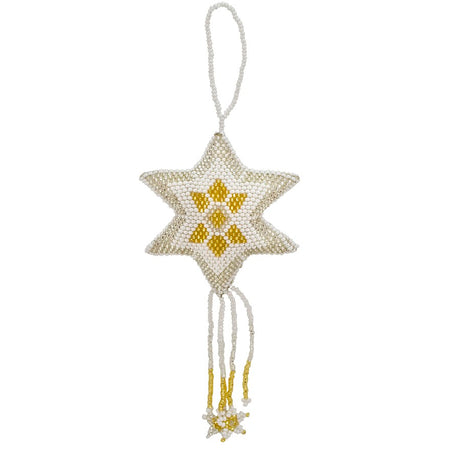 Hand Beaded Star Ornament - Gold and Silver
