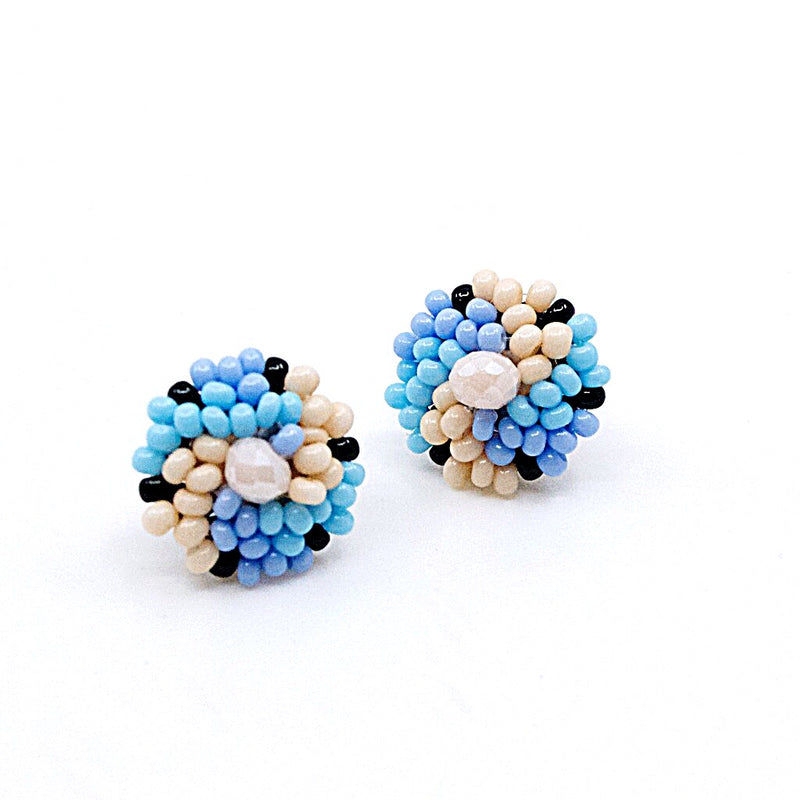 Hand Beaded Post Earrings - Light Blues