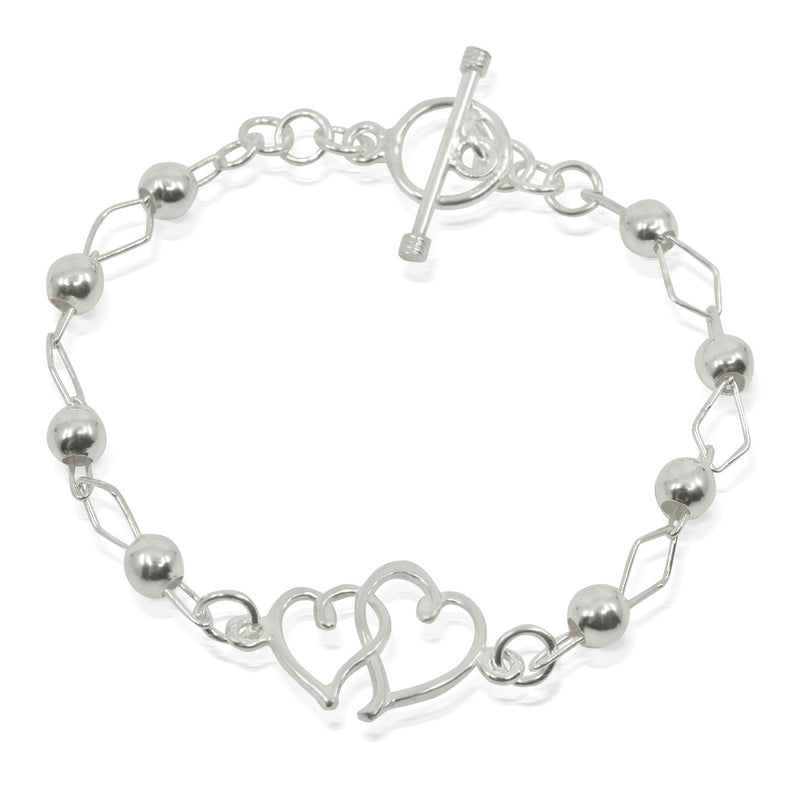 Conjoined Hearts .925 Silver Bracelet from Taxco, Mexico