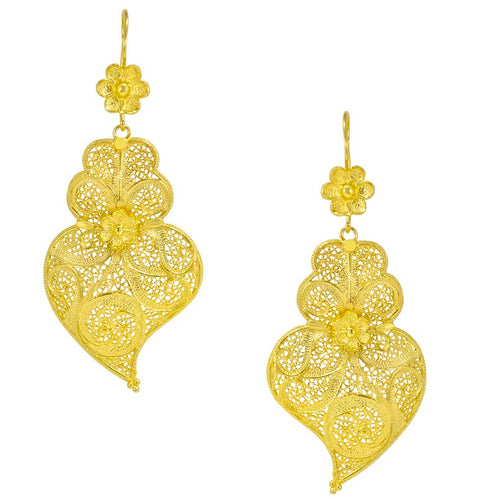 Gold Plated Heart Shaped Filigree Sterling Silver Earrings