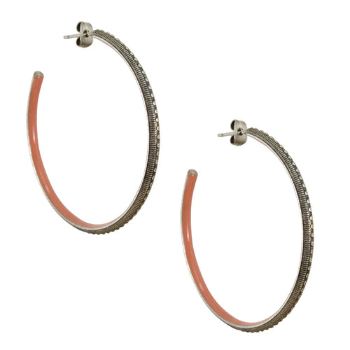 Vintage Inspired Silver Hoop Earrings - Pink