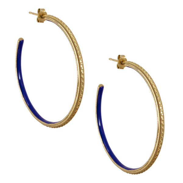 Vintage Inspired Hoop Earrings - Navy Blue
