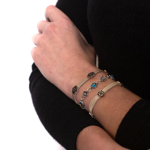 Decorated 3 Strand Sterling Silver Bracelet - Armenian Jewelry