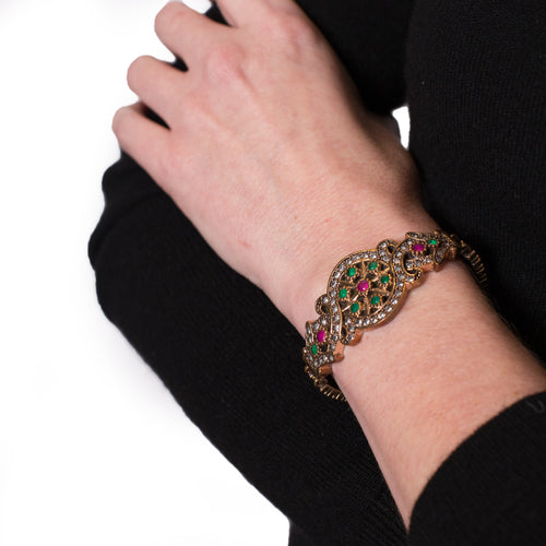Emerald, Ruby and Crystal Sterling Silver Bracelet - Armenian Jewelry