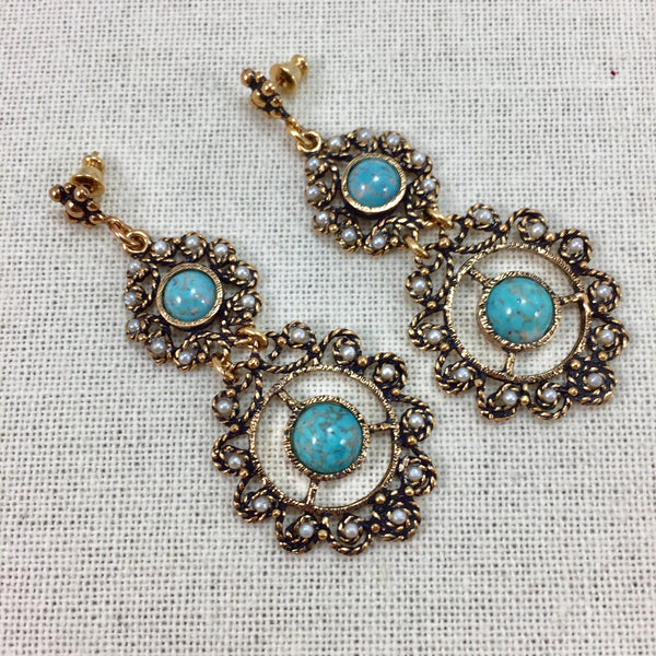 Turquoise Accent Double Drop Medallion Earrings