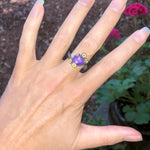 Crystal and Flowers Sterling Silver Ring - Size 8