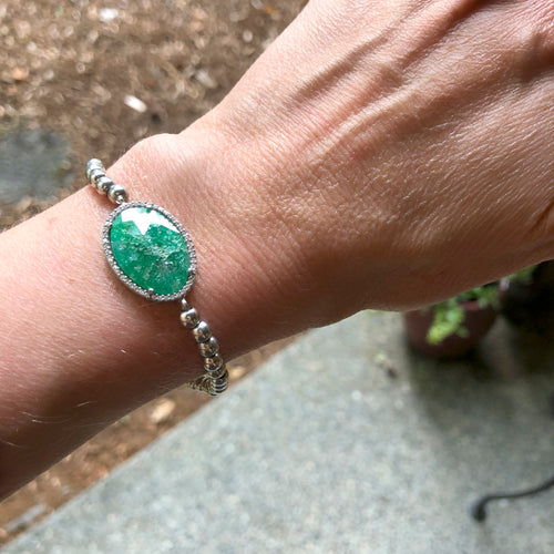Sterling Silver Bead Bracelet - Green