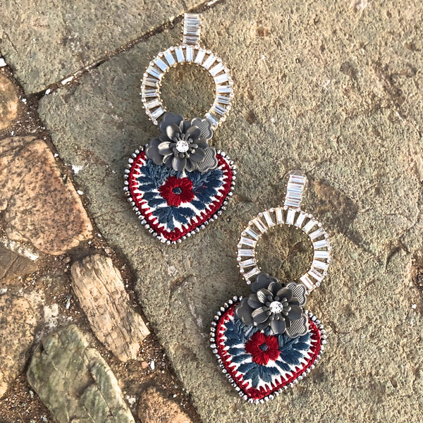 Flower and Embroidered Mexican Earrings