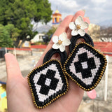 Black and White Embroidered Geometric and Flower Mexican Earrings