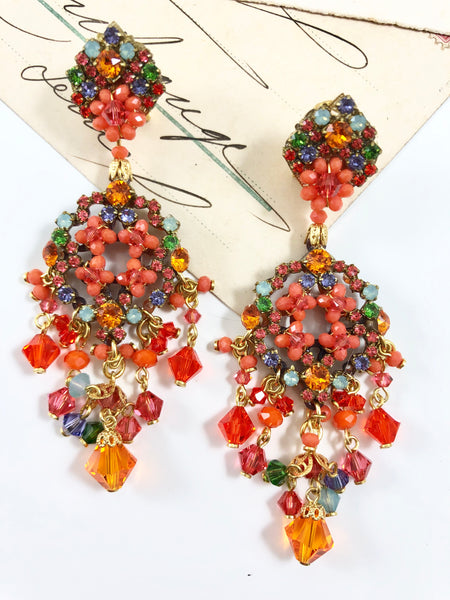 Sparkling Orange Swarovski Drop Earrings by DUBLOS