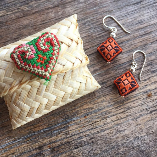 Embroidered Silk Earrings - Orange and Black