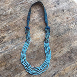 Embroidered and 5 Strand Glass Bead Necklace - Blue